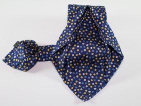 Seven fold silk twill tie - blue