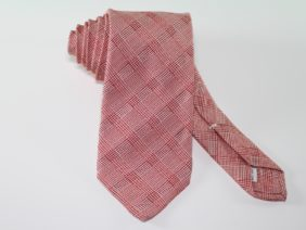 Cravatta tre pieghe in seta jacquard rossa