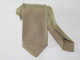 Cravatta tre pieghe in seta twill gialla