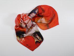Silk scarf Akai Shibuki by Midori Mccabe
