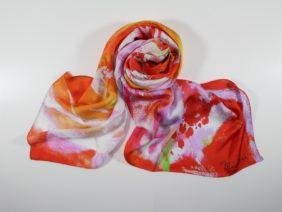 Silk scarf Foulard Haru Moeru by Midori Mccabe