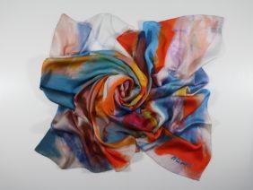 Silk scarf Papipupepo by Midori Mccabe