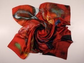 Silk scarf Oiran by Midori Mccabe