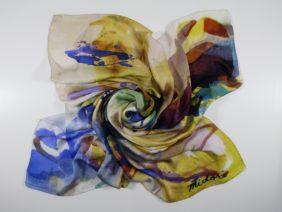 Silk scarf Navigli by Midori Mccabe