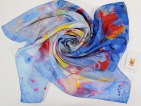 foulard in seta 90x90 Azzurro Napoletano by Antoh