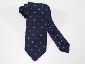 Three fold silk tie blue